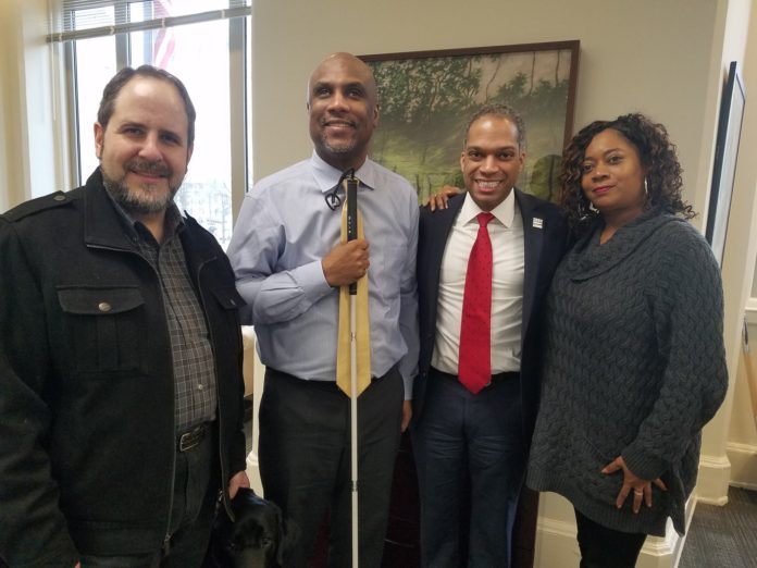 Councilmember Todd meeting with Shawn Calloway and Libra Robinson, advocates for people with disabilities who contributed to the Blind Students Literacy and Education Rights Act of 2018. Photo courtesy of Councilmember Todd.