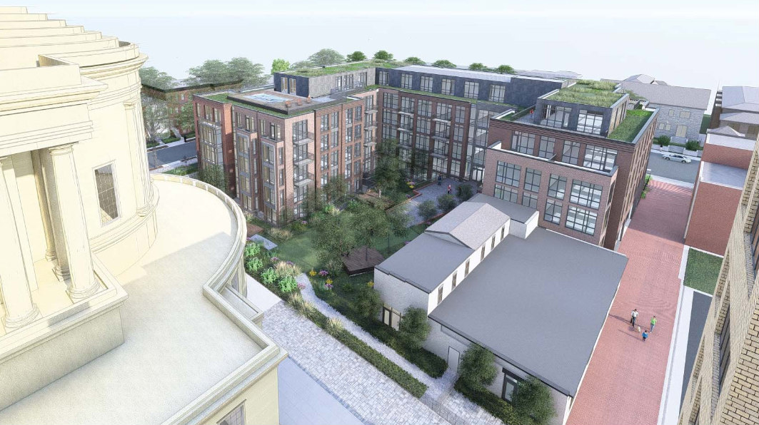 Rendering of the courtyard between the Masonic Temple and residential building. Photo courtesy of dc.urbanturf.com.